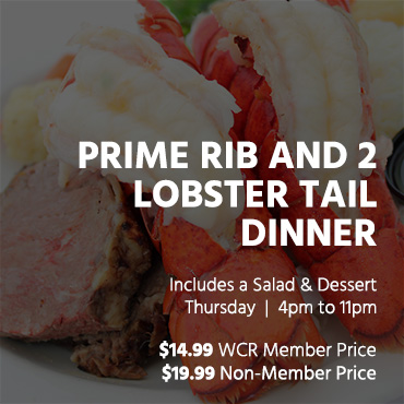 Prime Rib and 2 lobster tail dinner