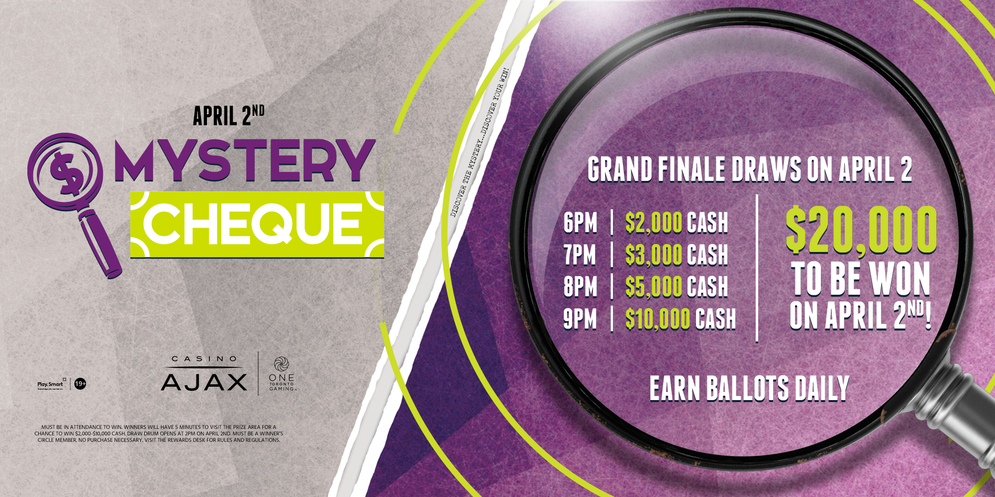 Mystery Cheque April 2, $20.00 0 in cash prizing to be won